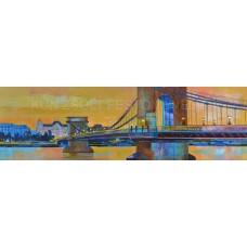 Budapest, Lánchíd (tájkép festmény)