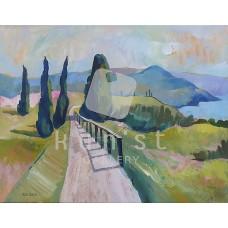 Mediterrán táj ciprusokkal (tájkép festmény)