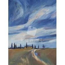 Mediterrán táj 03 (tájkép festmény)