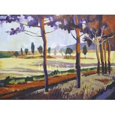 Útszéli fák (tájkép festmény)