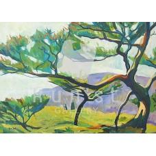 Lila alkony (tájkép festmény)