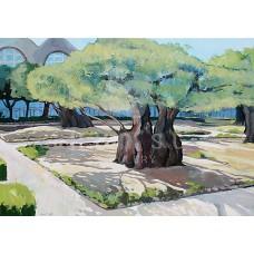 Olajfák a Gecsemáné kertjében (tájkép festmény)