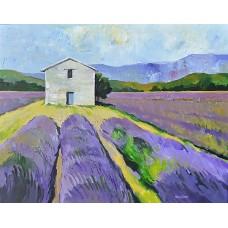 Provence-i levendulamező (tájkép festmény)