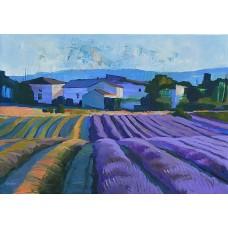 Levendula aratás (tájkép festmény)